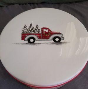 10 Strawberry Street Christmas Cookie Ceramic Tin